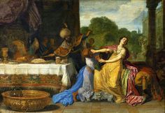 Haman begging Esther for mercy by Pieter Lastman, ca. 1618 (PD-art/old), Muzeum Narodowe w Warszawie (MNW), from the collection of John III Sobieski