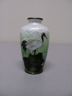 UNUSUAL JAPANESE CLOISONNE ENAMEL ON BRONZE MINIATURE VASE, FOILBACK with CRANE