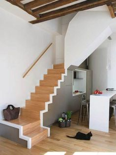 Cool And Simple Pictures Ideas Of Space Saving Staircase Design : Cool Interior Kitchen Design With Stairs Design For Small Spaces And Gloss. Tiny House Stairs, House Staircase, Loft Stairs, Staircase Ideas, Home Stairs Design, Interior Stairs, House Design, Stair Design, Small Space Stairs