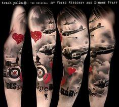 Bomber tattoo red and black - trash polka - the original - by Volko Merschky and Simone Pfaff