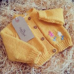 Organic Hand Knitted Cardigan with Flower by TheCottonDuckOK, £20.95