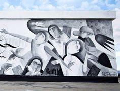 Fikos Antonio / Simon Silaidis. Lifeline, new mural, Athens Greece 2013.