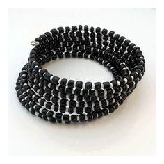 Bracelet multi-rangs * ville cinétique * noir et blanc et noir perles rocailles