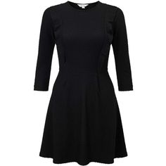 Miss Selfridge PETITE Black Skater Dress ($32) ❤ liked on Polyvore featuring dresses, vestidos, short dresses, black, petite, miss selfridge dresses, frilly dresses, flouncy dress, short ruffle dress and petite jersey dress