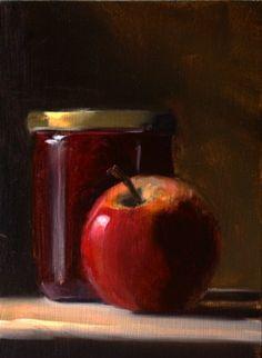 Painting a day, huile sur panneau, pomme et confiture