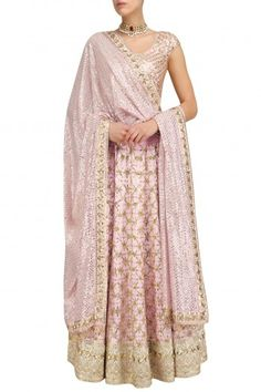 Anushka Khanna Blush Pink Floral Jaal Embroidered Lehenga Set #happyshopping #shopnow #ppus