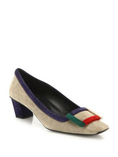 ROGER VIVIER Decollete Belle Vivier Graphic Suede Pumps. #rogervivier #shoes #pumps