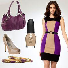 Caché colorblock ponte dress http://www.cache.com/detail/ponte-colorblock-sheath-dress/Q5320A70255010/51, belt http://www.cache.com/detail/gold-ring-belt/Q9010A11112345/01, and bangles http://www.cache.com/detail/purple-diamond-cut-bangles/Q9023N01945554/54. Purse, B. Makowsky. Shoe, MICHAEL Michael Kors. Sephora by OPI nail polish in neutral beauty. Purple and neutral colors.