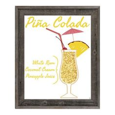 """Click Wall Art Pina Colada Framed Graphic Art on Wrapped Canvas Size: 26.5"""" H x 22.5"""" W x 1"""" D"""