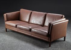 Lovely 3-Seater Sofa, thick sand-brown coloured leather and wooden legs, Mid-Century, Denmark by ScandinavianLove on Etsy