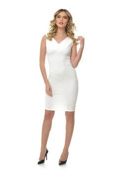 Rochie ivoire mulata RN158 -  Ama Fashion White Dress, Dresses For Work, Fashion, Moda, Fashion Styles, Fasion