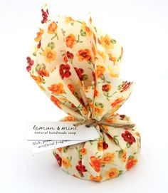 Lemon & Mint Fabric Wrapped Natural Handmade Soap    We wanted to create the perfect shower bar and this is the result - it's a lively combination of mint with fresh bursts of lemon and is certain to wake you up even on the dullest mornings! Enriched with shea butter to keep you skin baby soft.    Each soap bar is beautifully handwrapped in pretty fabric and weighs approximately 80g