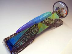 Dragonfly Kaleidoscope Vintage Glass Jewel by goglassgirl on Etsy