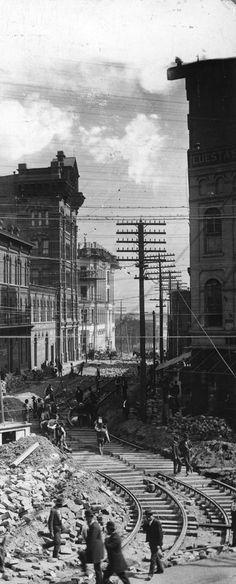 Streetcar line construction on Edgewood Avenue in Atlanta in 1892.