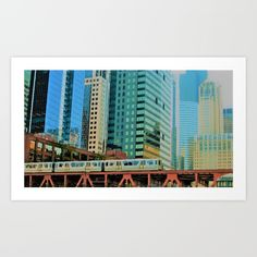 Chicago / El / Train / Loop / Downtown / Chicago River / Chicago Illinois / All art by Kate Hickey on sale @ society6.com