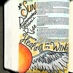 Malachi 4 Bible art journaling by @peggythibodeau www.peggyart.com Jesus is the Sun/Son of righteousness. There is healing in his wings!