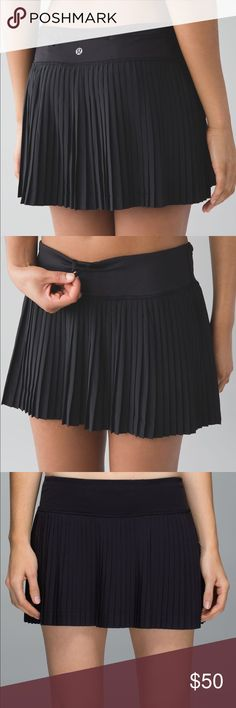 Lululemon Skirt NWOT Never worn, NWOT. I don't even play tennis smh. Black pleated skirt with two front pockets in the waistband and a zipper pocket on the back. Built in shorts lululemon athletica Skirts
