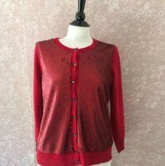Banana Republic Bead Red Cardigan Sweater LWren Scott Collection Womens Large L #BananaRepublic #Cardigan