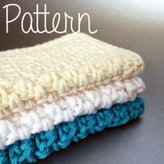 Crochet Pattern Simple Cotton Dishcloth with Decrease Single Crochet Tutorial Easy Beginner