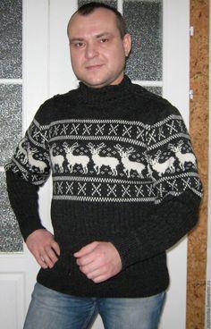 Buy Men's sweater with reindeer on Livemaster online shop