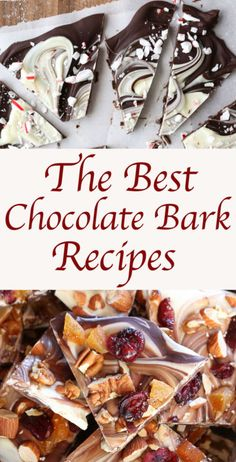 Chocolate Bark is my go-to candy to make through the holiday season. Its perfect for hostess gifts or holiday dessert trays. Best of all it takes barely five minutes to make a batch of chocolate bark. Köstliche Desserts, Holiday Desserts, Holiday Baking, Christmas Baking, Delicious Desserts, Dessert Recipes, Christmas Bark, Xmas, Chocolate Bark