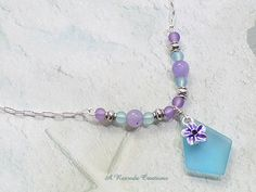 Pastel Sea Glass Necklace / Sea Glass Pendant Necklace / Beach Glass Jewelry by ARexrodeCreations on Etsy
