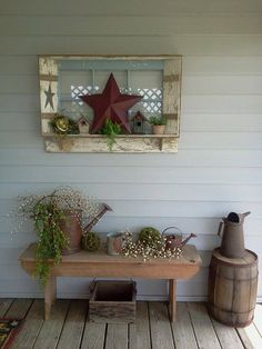 Back porch ideas - hang something over the bench to give it a roomy feeling LOVE, LOVE, LOVE THIS!!!!!! #PrimitiveCountryDecorating #PrimitiveDecor