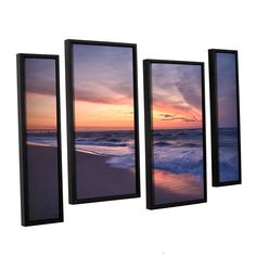 Outer Banks Sunset I by Dan Wilson 4 Piece Floater Framed Canvas Staggered Set