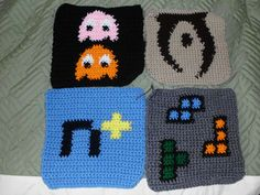 I have many people asking for the patterns i made for my Epic Gamer Afghan. This pack contains the charts for Pac-Man, Oblivion, N+, and Tetris