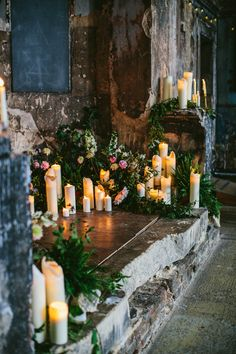Candle Lit Wedding Ceremony At Asylum London - Willowby by Watters Wedding Dress For A Stylish Wedding At Brixton East With Flowers by BloomingGayles And Images From Through The Woods We Ran