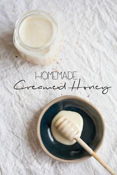 This DIY creamed honey is so simple to make and perfect to slather on buttered toast, drizzle on your breakfast or to sweeten delicate desserts! | The Macadames