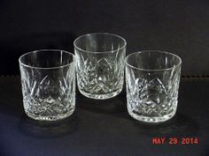 "3 WATERFORD LISMORE TUMBLER / ROCK GLASS 9 oz 3 1/4"" TALL #Waterford #WaterfordCrystal"