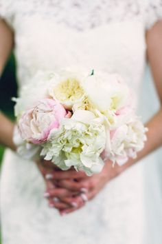 A sweet and luscious bouquet of pink and white peonies for Megan on her Audubon wedding day - by Buttercup: Dan Fredo Photography.