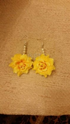 Yellow and pearl artificial flower earrings by bridal flower jewellery www.bridalflowerjewellery.weebly.com