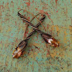 Trumpet Vine Earrings, Door 44 Original, Copper Wire Wrapped Earrings, Copper Stick Threaders, Woven Copper Stick Earrings, Made in Colorado