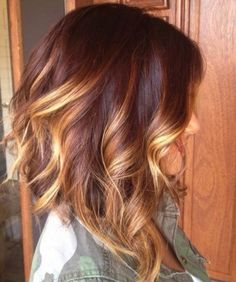 Beautiful warm auburn brown with balayage ombre