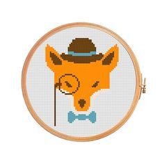 Hipster fox  cross stitch pattern  modern by PatternsCrossStitch