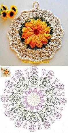 Ideas crochet dishcloth circle stitches for 2019 Crochet Potholder Patterns, Crochet Mandala Pattern, Crochet Circles, Granny Square Crochet Pattern, Crochet Flower Patterns, Crochet Diagram, Crochet Squares, Crochet Chart, Thread Crochet