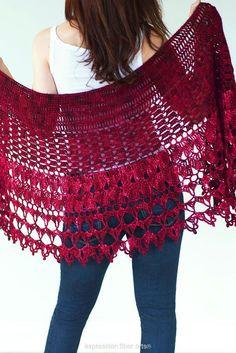 (4) Name: 'Crocheting : Red Velvet Rose Wrap