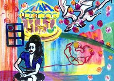 Improv painting Amy Winehouse Dragon and a rose
