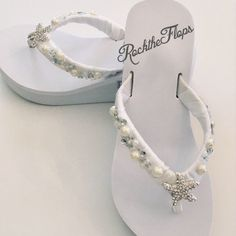 Items similar to Pearl Rhinestone Bridal Flip Flops.Gem Shoes for Bride to Be Destination Beach Wedding. Bling on Etsy Bling Wedding Shoes, Wedding Wedges, Wedge Wedding Shoes, Beach Wedding Shoes, Beach Wedding Attire, Bling Shoes, Rhinestone Shoes, Beach Weddings, Wedding Dresses