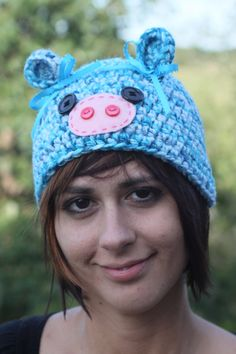 Blue Piggy Hat by BusyBeeStitchery on Etsy, $15.00