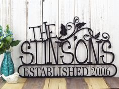 "Family Established Metal Sign | Family Name Sign | Established Year | Custom Sign | Name Sign | Outdoor Sign | Sign | Vines |  20""W x 12.5""H"