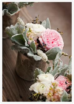 Lambs ear and peony floral arrangements