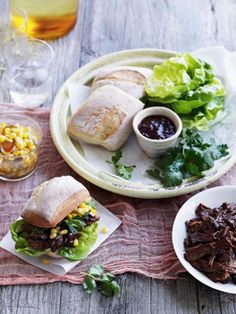 Australian Gourmet Traveller recipe for pulled beef rolls with corn and green chilli relish. Barbecue Recipes, Beef Recipes, Healthy Recipes, Barbecue Sauce, Tapas, Corn Relish, Pulled Beef, Beef Roll, Sandwiches