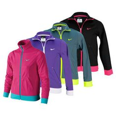 For a great performance jacket, the NikeGirls' Performance Knit Training Jacket has a cool look and sporty feel, with a performance knit and full zip front for versatility. #endlesstennis #girlstennis #tennisjackets