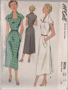 1950s Vintage Sewing Pattern McCall 8036 COUTURE by sandritocat