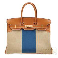 Hermes Birkin Flag bag 35 Ficell/Fauve/Blue Barenia/Toile H Champagne gold hardware