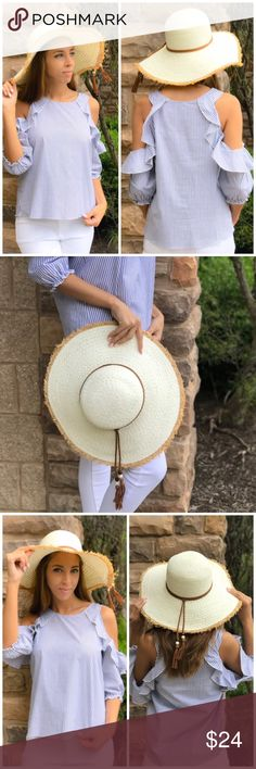 Cream Boater Hat Cream boater Floppy Hat. Features adorable fringe Tassel detail. Comes in cream or tan. Accessories Hats