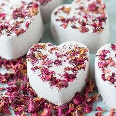 Treat YOURSELF to some pretty Heart Bath Bombs made with all natural ingredients - because you deserve it!